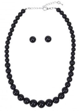 Collectif Halskette und Ohrstecker schwarz