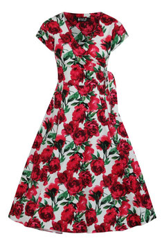 Lady Vintage Kleid Bella Red Flowers