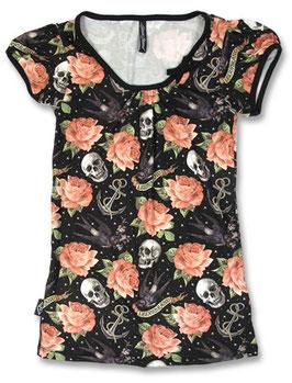Liquor Brand Shirt Rose Tattoo schwarz