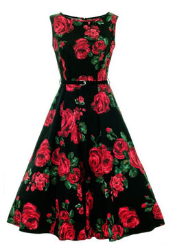 Lady Vintage KLeid Hepburn Red Roses