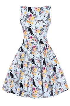 Lady Vintage Kleid Tea Cute Kitty Sky