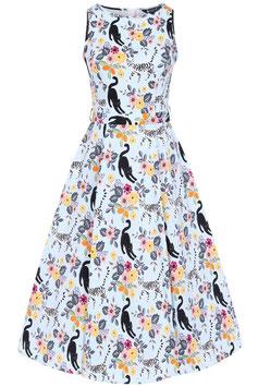 Lady Vintage Kleid Hepburn Cute Kitty Sky