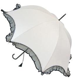 Scalloped-Schirm weiss mit Rüschen