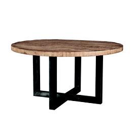 Eettafel met metalen poot zwart/wit