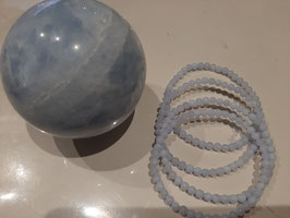 Bracelet en perles de Calcédoine Bleue 4 mm