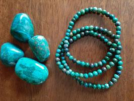 Bracelet en perles de Chrysocolle 4 mm