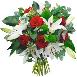 Bouquet Lys blancs et roses rouges