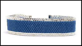 Manchette fine bleu et cristal