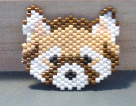 Broche panda roux tissé en perles
