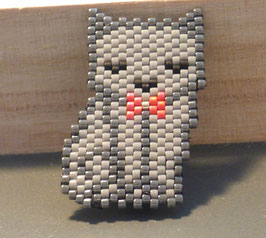 Broche chat tissé en perles
