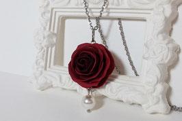Pendentif Rose rouge sombre - sur commande