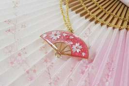 Pendentif Eventail fleurs de cerisier