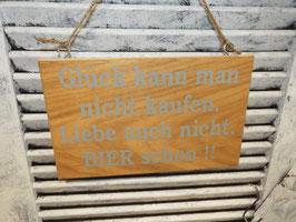 """Schild """"Glück und Bier"""""""