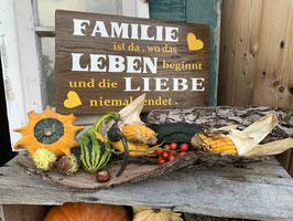 """Holzschild """"Familie, Leben, Liebe"""""""