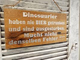 """Schild """"Dinosaurier sind ausgestorben"""""""