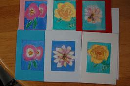 4er-Set-handbemalte-Grusskarten-3-teilig-Aquarell-auf-Seide