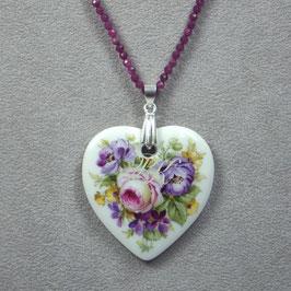 Herzmedaillon , Bukett purpur/lila Blüten