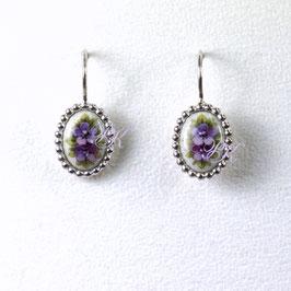 Ohrhänger Set oval - Violette Blüten