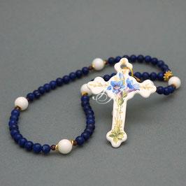 Kleiner Rosenkranz - Kreuz mit Enzian