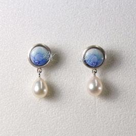 Ohrstecker Set - Blaue Hortensie mit Tropfenperle