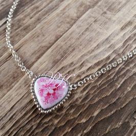 Kette mit Herzmedaillon - rosa Vergissmeinnicht