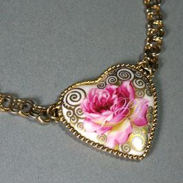 Herz - Kette , Rose mit Goldornament