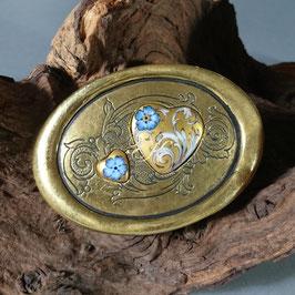 Gürtelschnalle - Porzellanherzen mit Ornament Gold