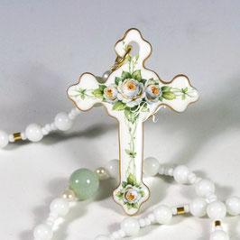 Rosenkranz - Kreuz mit weissen Rosen