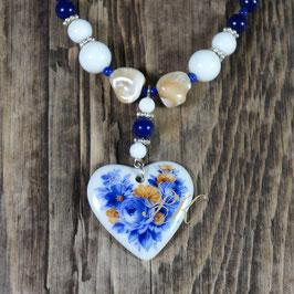 Perlenkette Herz-Medaillon Blaue Blumen