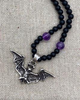 Fledermaus mit Onyx matt, Amethyst