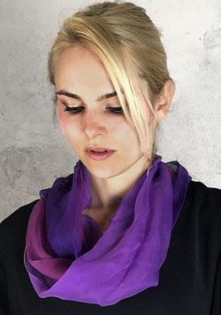 Loop-Schal, feinste Chiffonseide in Pflaumentönen