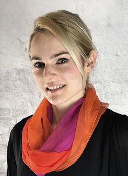 Loop-Schal, feinste Chiffonseide in Pink, Rot, und Orange