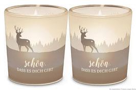"""2er Set Windlichter  """"Schön, dass es dich gibt """" Hirsch"""