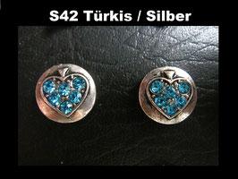 1 Stück Snap Button mit Strass-Steinen, 12 mm, Modell S42, Türkis / Silber