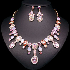"Edles Strass-Schmuckset ""Brilliant Rose"", 3 tlg."