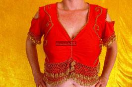 Orientalisches Top aus Lycra mit Perlenbestickung, rot/gold