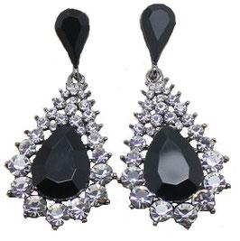 """Ohrringe """"Royal"""", silberfarben mit kristallfarbenen und schwarzen Strass-Steinen"""