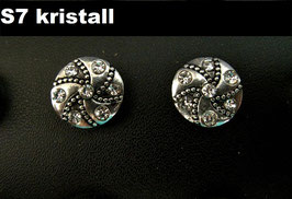 1 Stück Snap Button mit Strass-Steinen, 12 mm, Modell S7, kristall/silber
