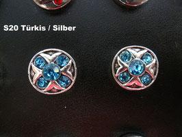 1 Stück Snap Button mit Strass-Steinen, 12 mm, Modell S20