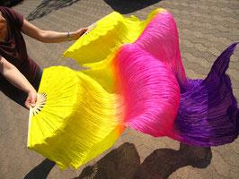 1 Paar Schleierfächer, Gelb Pink Lila, rechts + links, A-Qualität, 150 cm