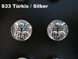 1 Stück Snap Button mit Strass-Steinen, 12 mm, Modell S33