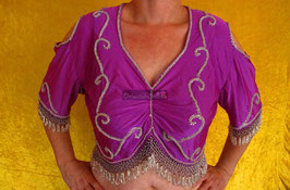 Orientalisches Top aus Lycra mit Perlenbestickung, lila/silber