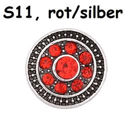 1 Stück Snap Button mit Strass-Steinen, 12 mm, Modell S11, rot/silber