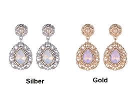 """Ohrringe """"Renaissance"""", silber- oder goldfarben mit Perlen und Strass-Steinen"""
