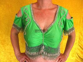 Orientalisches Top aus Lycra mit Perlenbestickung, grün/silber