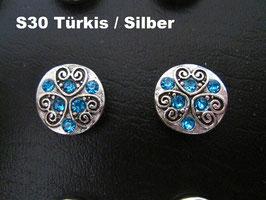 1 Stück Snap Button mit Strass-Steinen, 12 mm, Modell S30