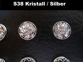 1 Stück Snap Button mit Strass-Steinen, 12 mm, Modell S38