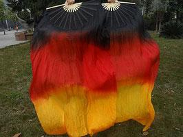 1 Paar Schleierfächer, Schwarz Rot Orange, rechts + links, 150 cm