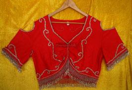Orientalisches Top aus Lycra mit Perlenbestickung, rot/silber
