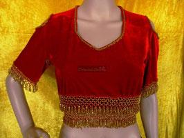 Orientalisches Top aus Pannesamt mit Perlenbestickung, rot/gold